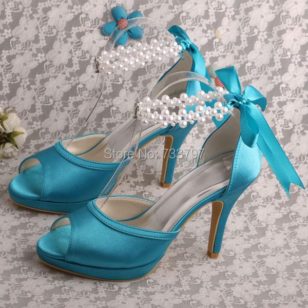 Wedopus MW775 Ribbon Mint Green Shoes Wedding Bridal for Women Ribbon High Heels