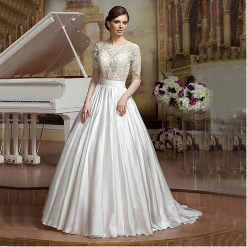 Sexy see though top white lace illusion long sleeves open for Wedding dress with illusion top