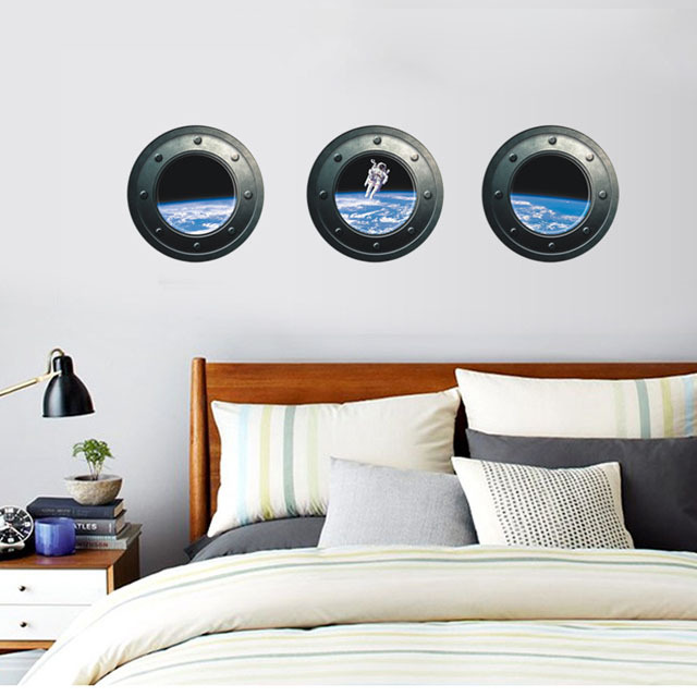 [Saturday Monopoly] DIY home decor astronauts Wall Stickers Removable kids bedroom furniture wallpapers and wallpapers(China (Mainland))