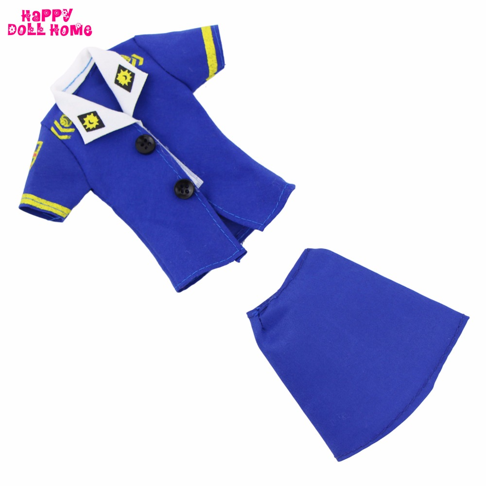 One Set Vogue Outfit Get together Cosplay Costume Stewardess Uniform Blue Police Garments Footwear For Barbie Doll Garments Fake Play