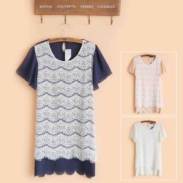 Free shipping 2013 eyelash lace short-sleeved chiffon still lace dress