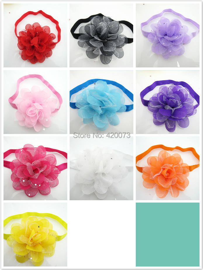 Free Shipping 100 Pcs/lot Baby Sequin Flower Headband,Handmade Chiffon Flower With Elastic,Cute Flower HeadbandОдежда и ак�е��уары<br><br><br>Aliexpress