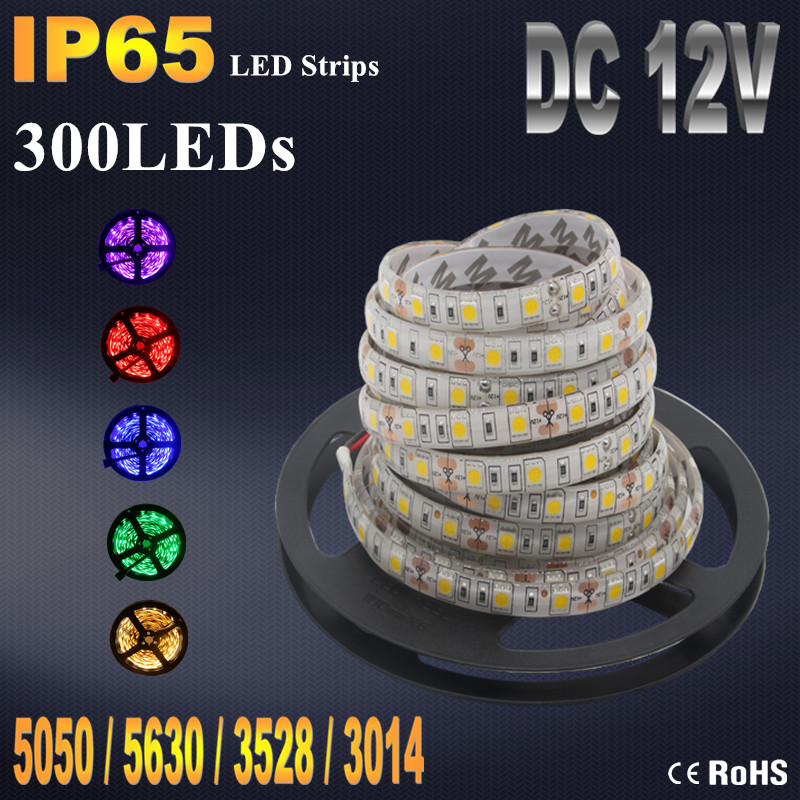 IP20 IP65 Waterproof RGB LED Strip Flexible Lights DC12V SMD 5050 5630 3528 3014 300LED 5M Lampada LED Light Tape Ribbon Lamp(China (Mainland))
