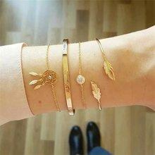4 sztuk/zestaw moda damska kryształ liści wzór geometryczny bransoletki i łańcuszki na urok złota bransoletka zestaw Boho Vienkim biżuteria w stylu Vintage 2019 nowy hurtownie(China)