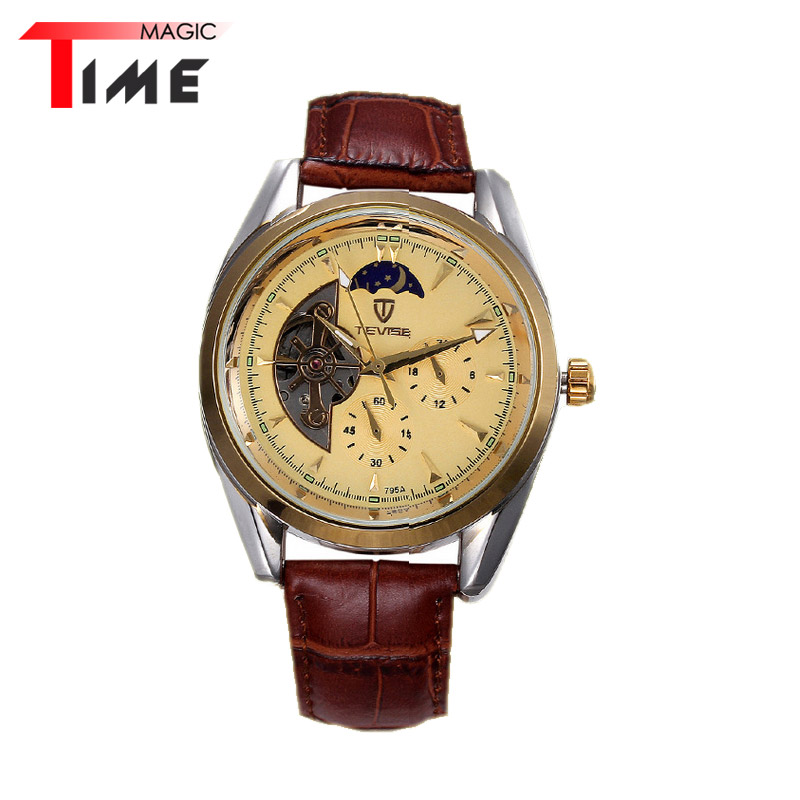 [Time Magic] Leather Watch Band Moon Phase Business Wrist Watch Automatic Mechanical Men Watches Classic Transparent Caseback<br><br>Aliexpress