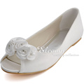 New Arrival Peep Toe Women s Satin Shoes Wedding shoes Comfortable Flat Shoes Flower Deco Party