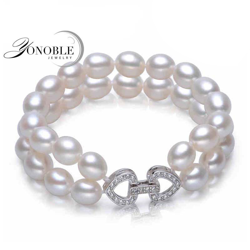100% freshwater double pearl bracelets 925 silver,white real natural pearl bracelet jewelry girlfriend daughter birthday gift