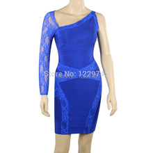 Factory Outlet 2014 New Arrival BLUE LACE One Shoulder Cut Back Open HL BANDAGE DRESS PARTY EVENING Sexy Dresses