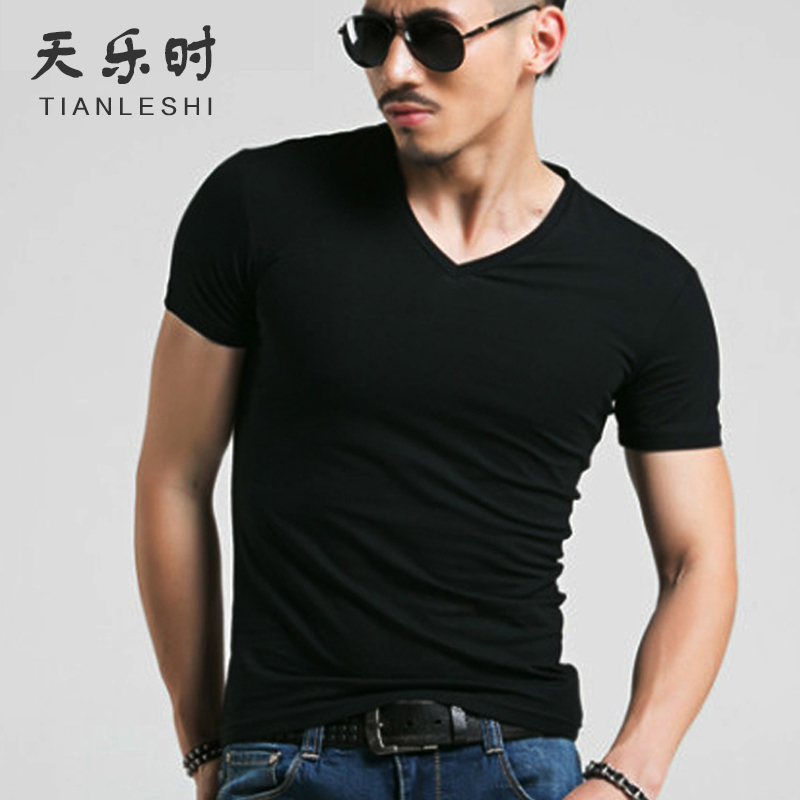 Lycra inner wear undershirt cotton short-sleeved T-shirt men's sports tight V-neck solid color Slim stretch shirt male models
