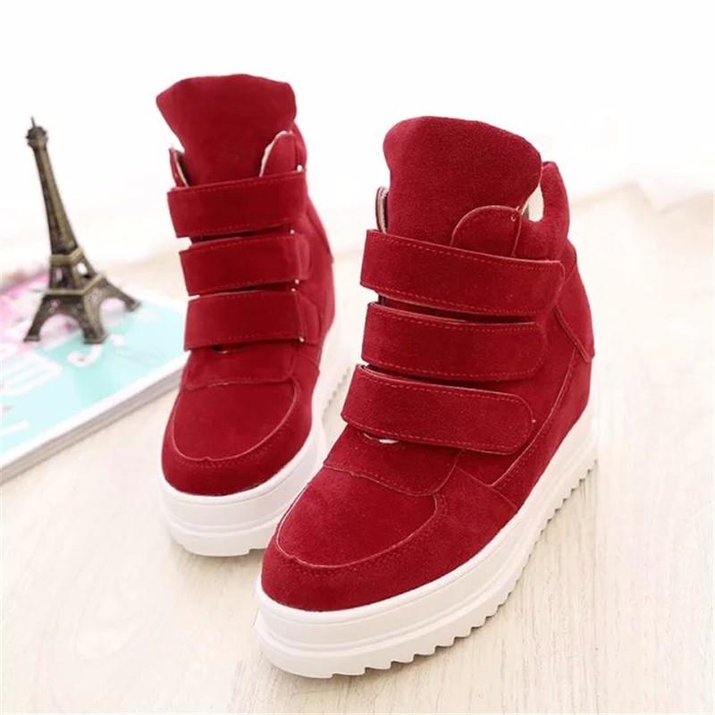Bayanlar 2016 nubuk PU Kadın sonbahar kış Yüksekliği Artan kadın moda Kadın rahat ayakkabı siyah kırmızı gri mavi yüksek topuk ayakkabı