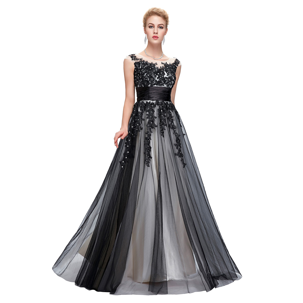 black tulle evening dresses 2016 best vestido de festa robe de soiree long prom gown lace. Black Bedroom Furniture Sets. Home Design Ideas