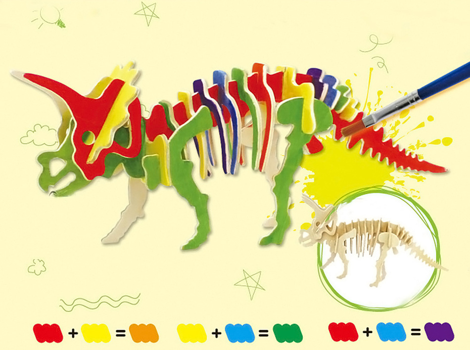 New Robotime Educational Toy Creative DIY 3D Three-dimensional Wooden Dinosaur Style Jigsaw Puzzle for Kids Handmade Nice Gift(China (Mainland))