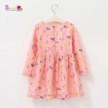 New Sweety Pink Owl Prints Children Summer Hollow Tulle Dress For Girls Dress Fancy Dress Costumes for 1-10years Old Baby Girl