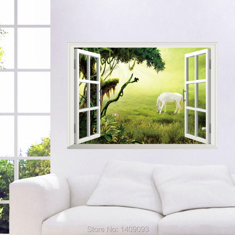 Beautiful View 3D Wall Sticker Tree Animal Imitation Window Green Grass Wall Decal 3d Sofa TV Background Living Room Decor(China (Mainland))