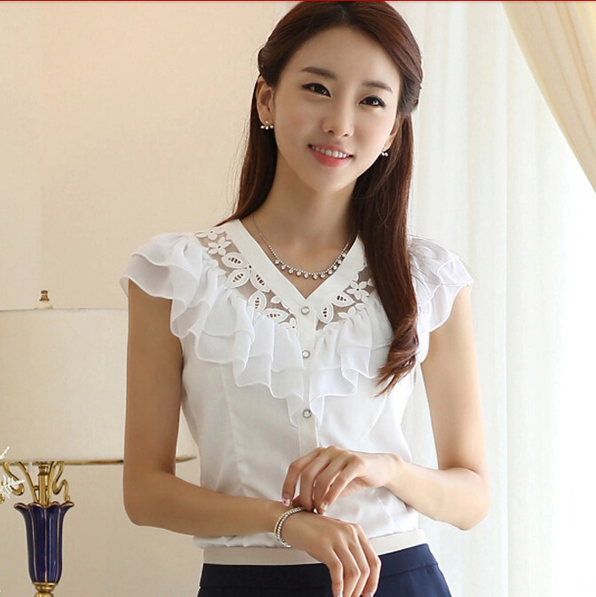 ST146 Summer Fashion Tops Lace Casual Short Sleeve Plus Size Shirt Women Clothing Brand Quality Black White Chiffon Blouses - First Mall store