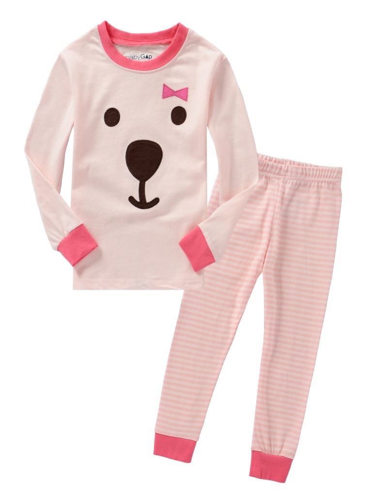 Cartoon Pink Bear kids pajama sets,children sleepwear nightwear girls family pajamas Retail toddler baby pyjamas 2t-7t(China (Mainland))