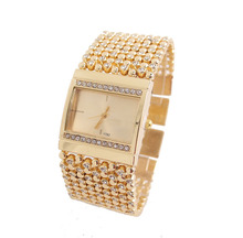 Hot Sale Big Brand men women fashion Crystal Gold Quartz watch Wrist watches Ladies hour clock relojes relogio feminino 1792