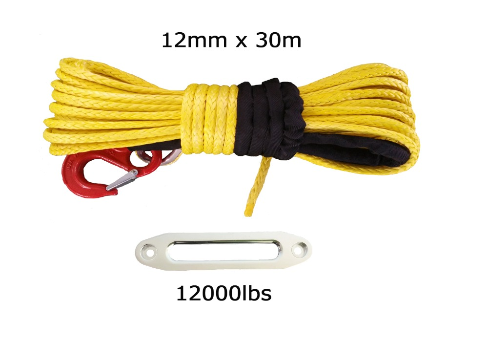 Free shipping 12mm x 30m synthetic winch rope with hook & 12000lbs hawse fairlead for 4wd atv utv off road(China (Mainland))