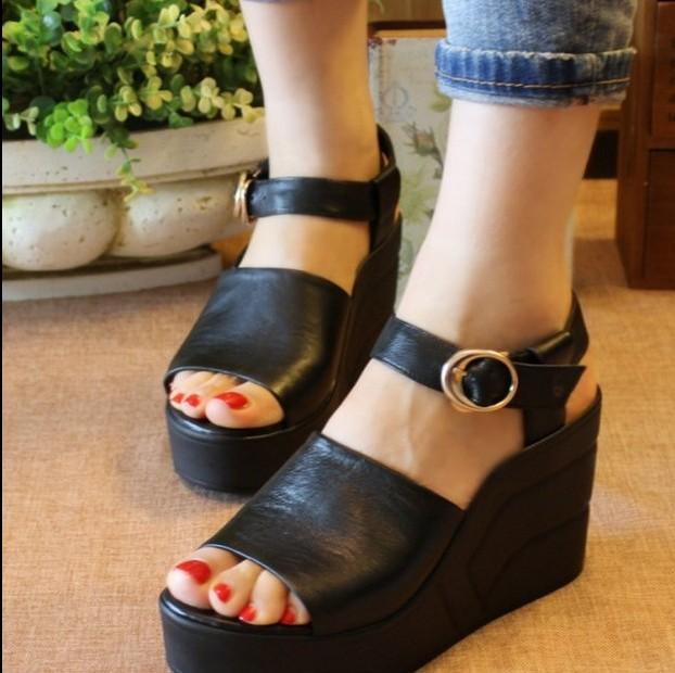2015 summer genuine leather female sandals platform wedges platform high-heeled shoes gladiator sandals free shipping
