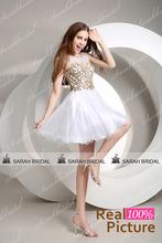 Oro blanco moldeado cristalino cortos vestidos fiesta para las niñas Party 2015 nueva moda Mini vestidos graduación en Stock AJ024(China (Mainland))