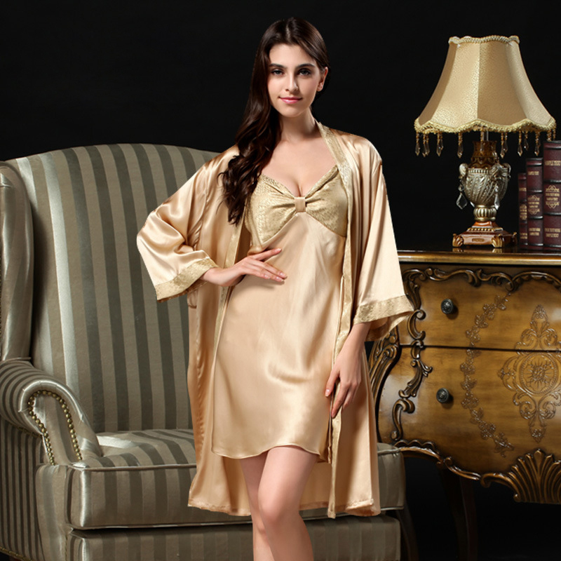 100% silk  twinset robe sets women lace silk pajamas female sexy Deep V nightgowns 100% mulberry silk bathrobe two pieces S817Одежда и ак�е��уары<br><br><br>Aliexpress