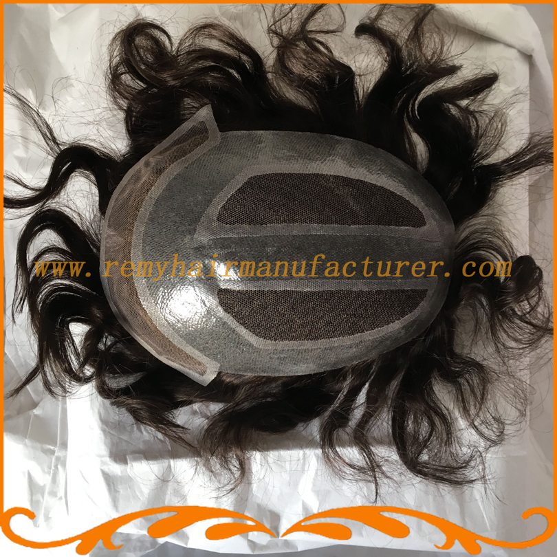 Mens hair pieces base 8*10inch full swiss lace invisible knot straight wave 100% Indian hair mens wigs toupee looks very natural(China (Mainland))
