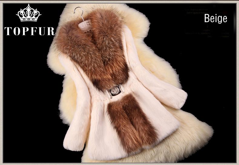 Autumn Winter Ladies' Natural Rabbit Fur Coat Jacket Raccoon Collar Women Trench Outerwear Coats Plus Size FP331 - TopFur Fashion co.,Ltd store