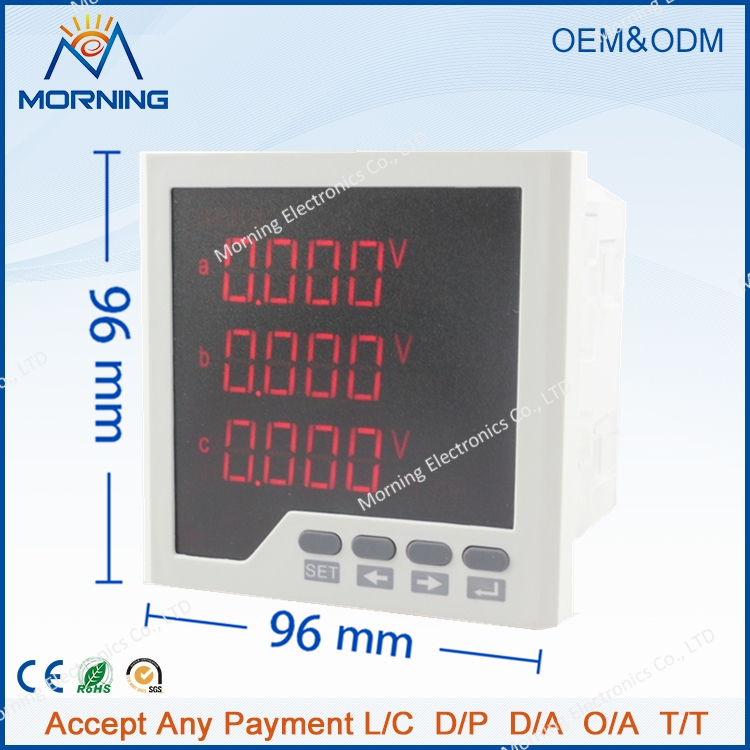 3D3 frame size 96*96mm three phase AC Data Retention LED Digital display multifunction meter(China (Mainland))