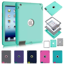 For Apple iPad 2 iPad 3 iPad 4 Amor Shockproof Heavy Duty Rubber Hard Case Cover w/Screen Protector Film+Stylus Pen Free Ship(China (Mainland))