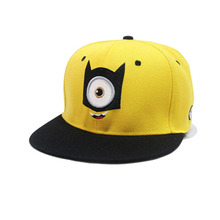 2016 Baseball Cap Children Gorras Yellow Cartoon Casquette God Steal Dads Film Minions Canvas Flat Snapback Hip Hop Hat(China (Mainland))