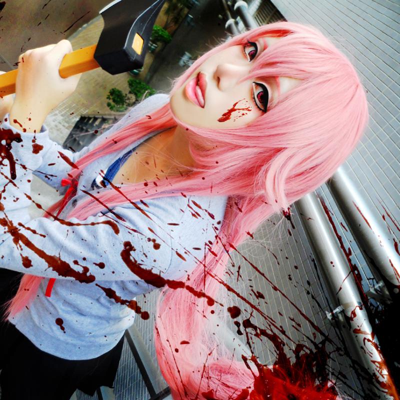 Mirai Nikki Yuno Gasai Cosplay Wigs Long Pink Halloween Christmas Party Wigs<br><br>Aliexpress