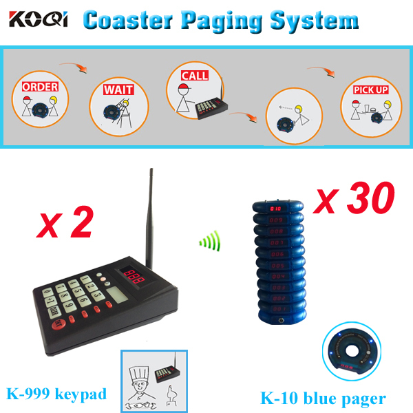 Free shipping Queue paging system, take a number server for restaurant 2 wireless keyboard with 30pcs blue coaster pager(China (Mainland))