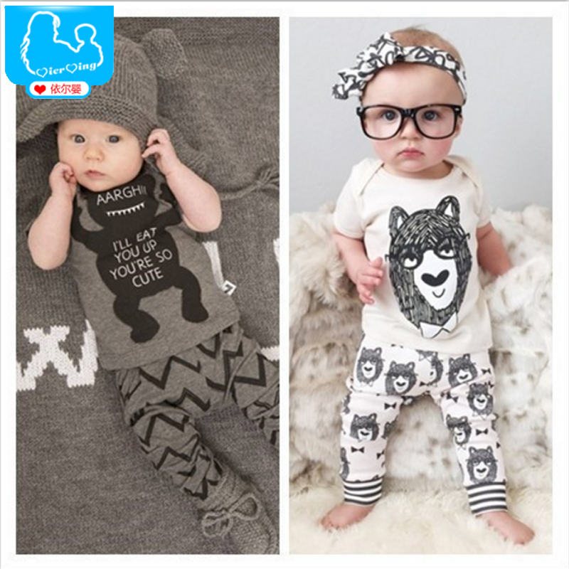 Summer Baby's Set Newborn Baby Girls Clothing Sets Bebes Bear T-Shirt And Pants 2pcs Suit For Baby Boy Toddler Kids Jumpsuit