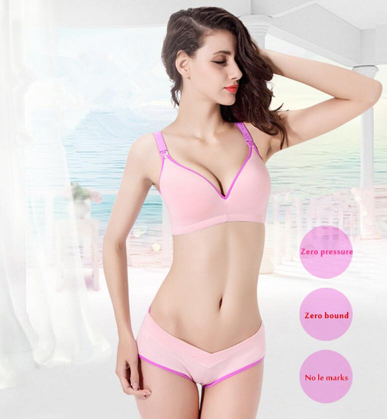 Cotton nursing bra+panties set wire free maternity underwear bra for pregnant women Breastfeeding Nurse Bras underwear clothes 1(China (Mainland))