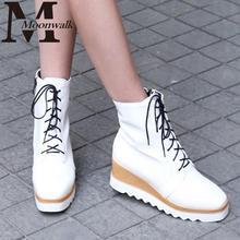 MOON WALK 2015 Otoño Primavera botas chelsea cordón cuñas de Plataforma de tacón alto tobillo zapatos de las señoras más tamaño J4254(China (Mainland))
