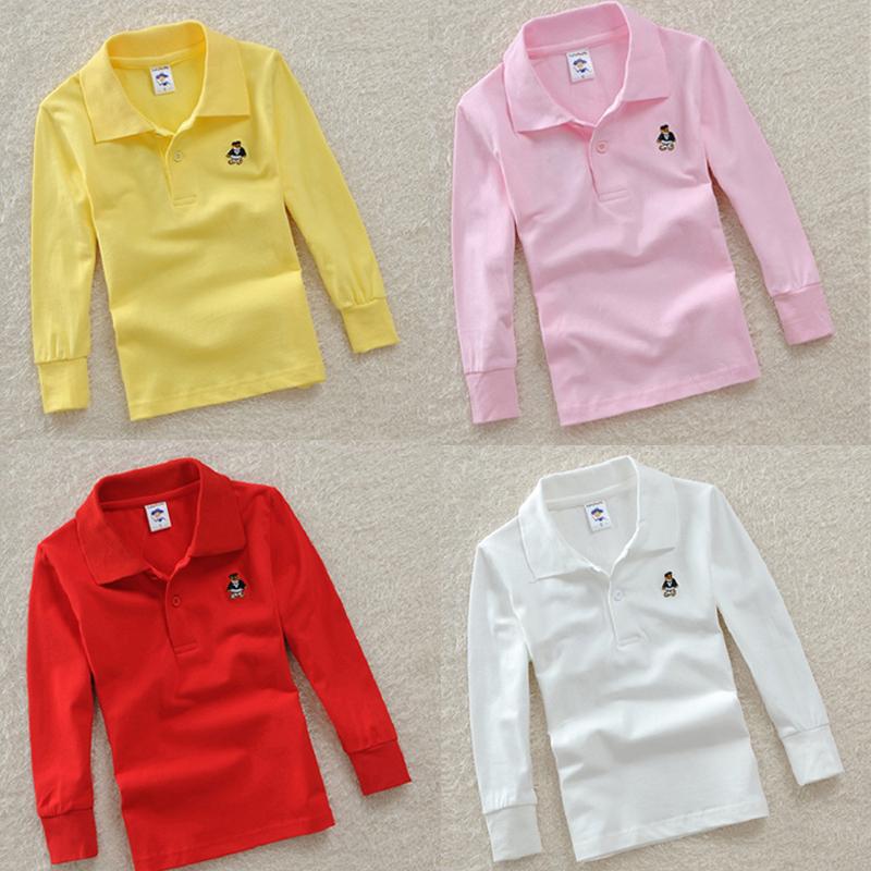 Top quality boys girls plain white red t shirt for kids toddler big boy clothing children t-shirts long sleeve cotton polo shirt(China (Mainland))
