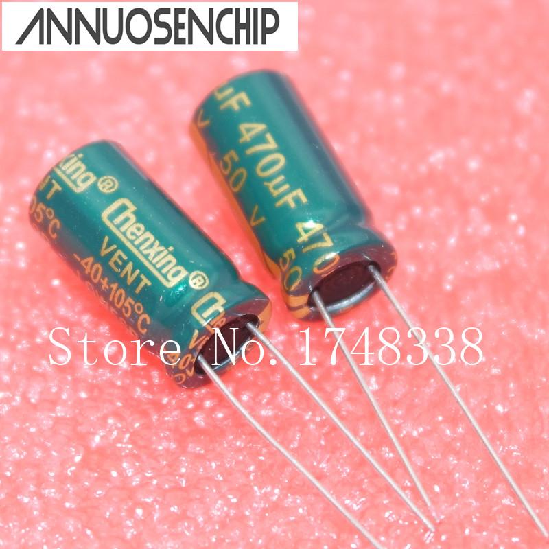 50V 470UF Power Capacitor 10*20mm 470uf 50v electrolytic capacitor Line (50pcs) Free shipping(China (Mainland))
