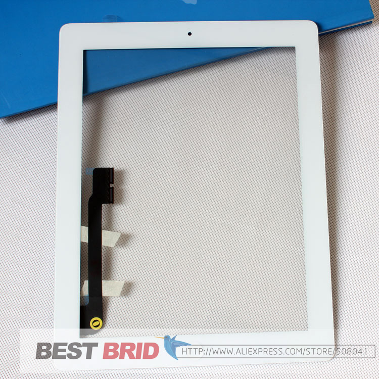 100% tested well For ipad3 iPad 3 ipad 4 iPad 4 touch screen digitizer+home button+button flex +sticker +camera holder complete