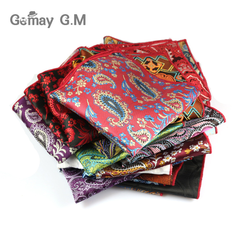 Cashew Floral Chest Towel Mens Pocket Square Formal Business Suit Wedding Handkerchiefs Men Pocket Hanky Polyester Handkerchief(China (Mainland))