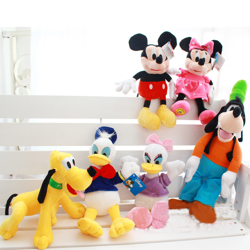 30cm Mickey Mouse and Minnie Donald Duck and Daisy Plush Toys Cute Goofy Dog Pluto Dog Kawaii Stuffed Toys Children Gift(China (Mainland))