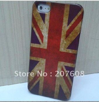 Newest HOT Retro National Flag Hard PC Back Cover Case for iphone 5 5g, 100pcs/lot, high quality