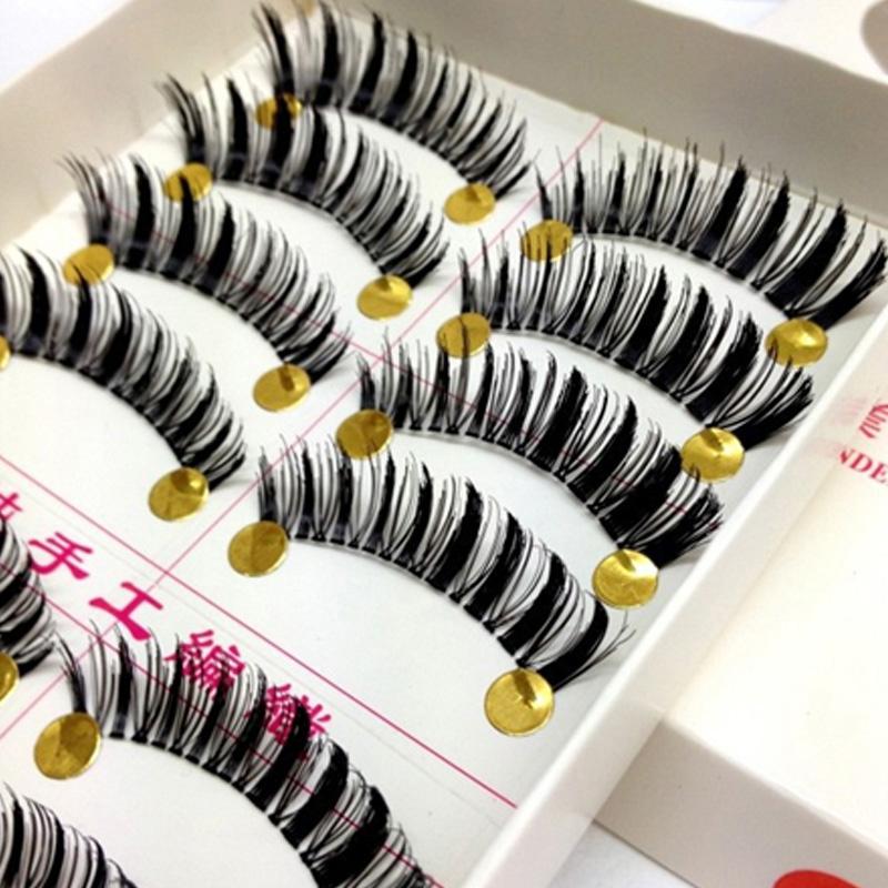 10 Pairs Messy Cross Thick False Eye Lashes Extension Tools Beauty Makeup Super Natural Long Black Fake Eyelashes Brand Makeup(China (Mainland))