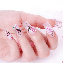 2014 New Water Transfer  Nail Art Stickers Decal Beauty Pink Rose Flowers Design French Manicure Decorative Foils Stamps Tools
