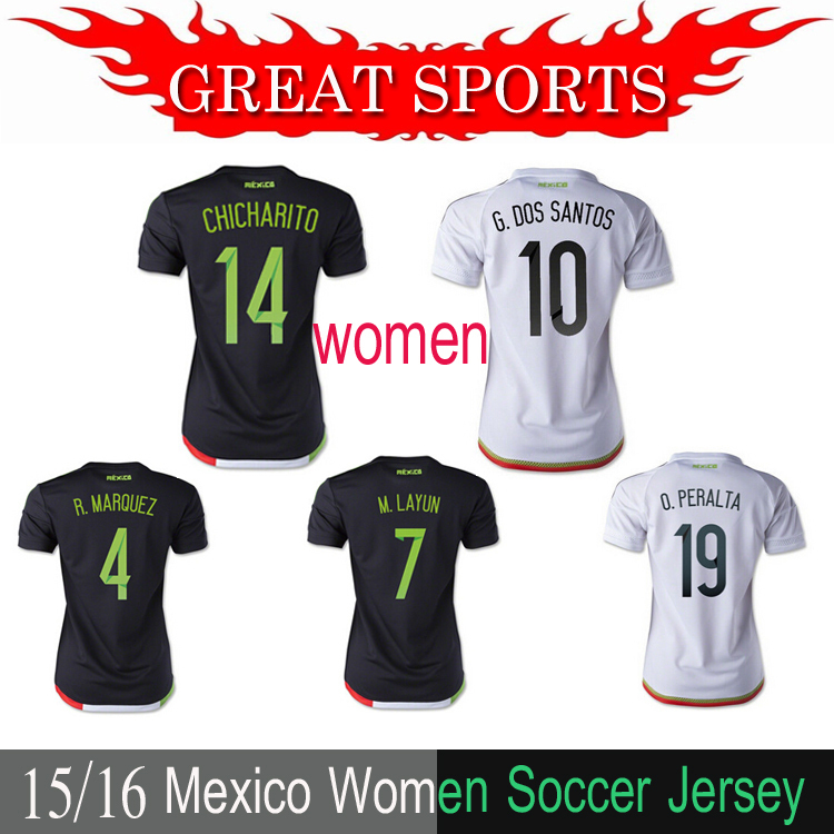 mexico women jersey 2015 MEXICO home black football shirts 15 16 America CHICHARITO Lady Girl jersey soccer womens team uniform(China (Mainland))