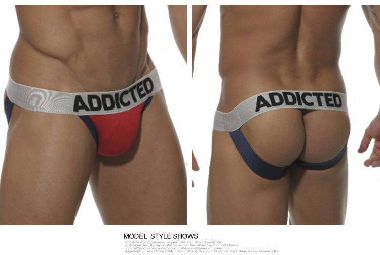 Brand ADDICTED Mens Pouch Briefs Punching Bag Man Sexy Men Underwear Backless Jockstrap Gay Bikini Cotton Thongs G Strings(China (Mainland))