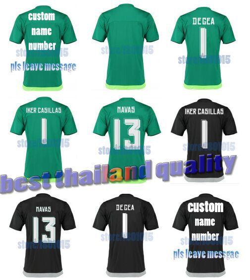 Promotion!Equipacion Real Madrid 2016 goalkeeper Soccer jersey Green/black GK IKER CASILLAS jersey 2016 De Gea football shirts(China (Mainland))