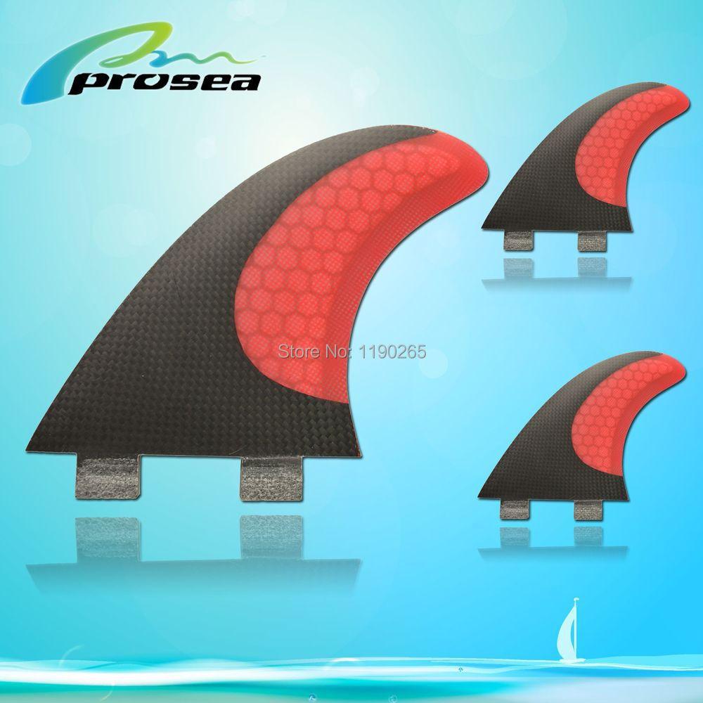 Prosea FCS PC-9 fiberglass honey comb carbon stand up paddle fins/3 fcs base(China (Mainland))