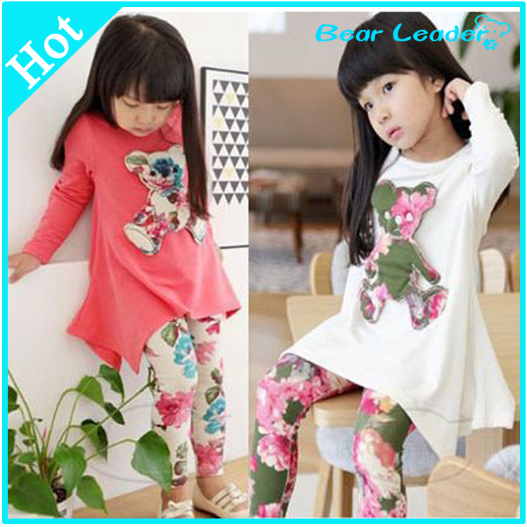 New 2015 Casual clothes Hot sales Autumn baby girl dress long sleeve T-shirt + Flower Legging Clothing Set children clothing(China (Mainland))