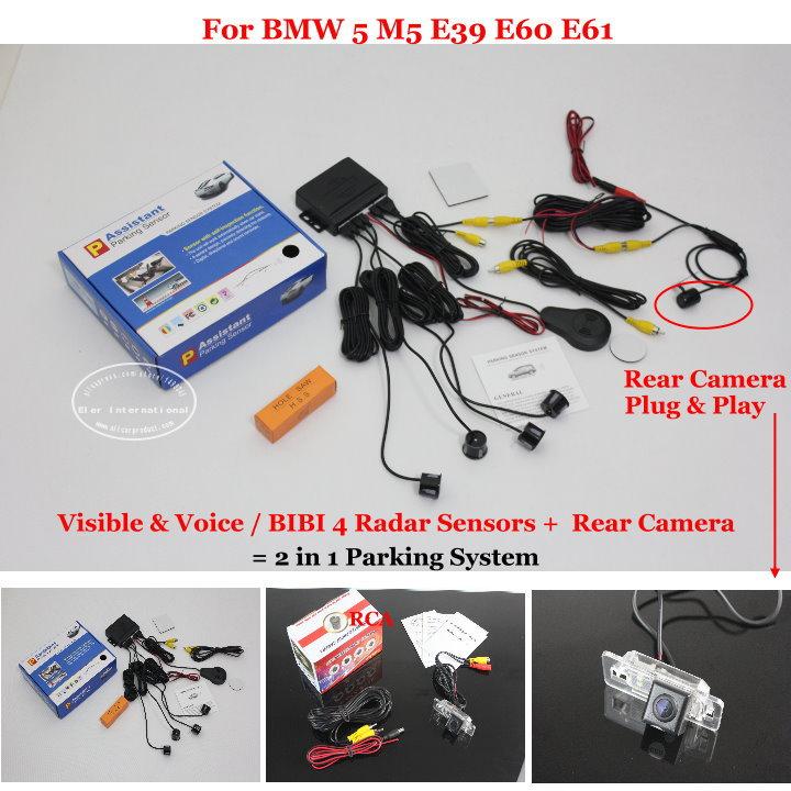 Car Parking Sensors + Rear View Camera = 2 in 1 Visible & Vioce Alarm Parking System For BMW 5 M5 E39 E60 E61 BMW X1 E84 X3 E83(China (Mainland))