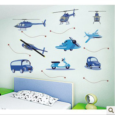 Hot sale free shipping 3d NEW Airplanes Cars Helicopters Bus Removable Wall Sticker Decor Decal Hot jungle wall stickers(China (Mainland))
